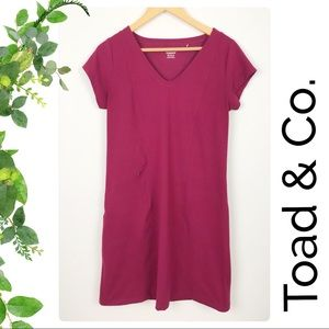 Toad & Co Maroon Berry Vneck Tshirt Dress Pocket